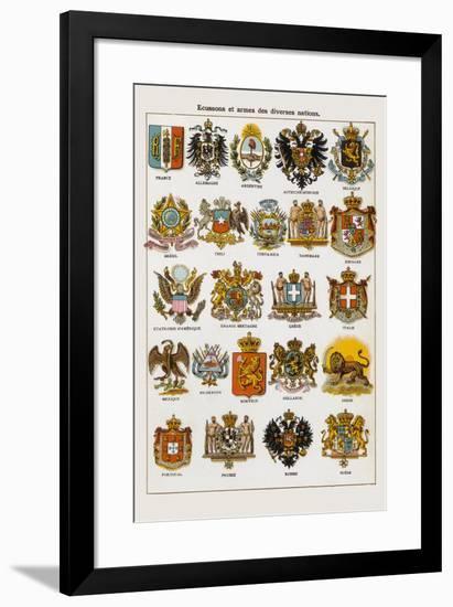 Ecussons et armes des diverses nations-Continental School-Framed Giclee Print