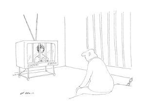 Man in jail watching television with bars over it. - New Yorker Cartoon by Ed Arno