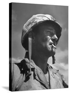 "Actor John Wayne as Marine Sgt. Platoon Leader in Scene From the Movie ""Sands of Iwo Jima"" by Ed Clark"