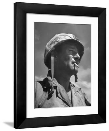 "Actor John Wayne as Marine Sgt. Platoon Leader in Scene From the Movie ""Sands of Iwo Jima"""