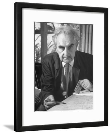 Architecht Richard Neutra, Working on His Drawing Board