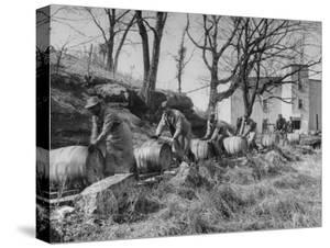 Barrels Being Rolled on Wooden Rails at Jack Daniels Distillery by Ed Clark