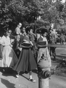 Federal Troops Escorting African American Students to School During Integration by Ed Clark