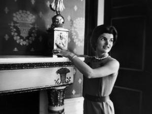 First Lady Jacqueline Kennedy Showing Off James Monroe Era Candelabrum in White House by Ed Clark