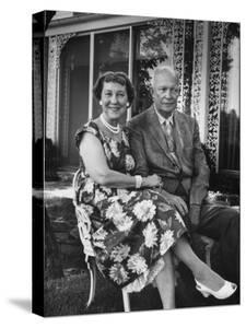Former President Dwight D. Eisenhower and Wife Mamie on Lawn at Home by Ed Clark