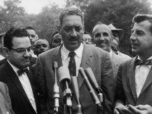 Naacp Lawyer Thurgood Marshall Speaking to the Press by Ed Clark