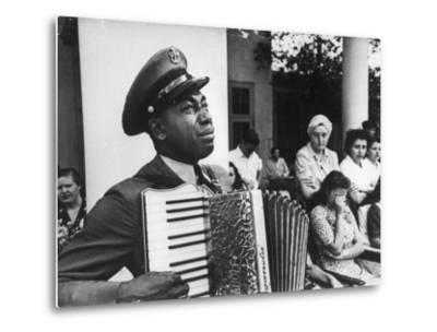Navy CPO Graham Jackson Playing Accordian, Crying as Franklin D Roosevelt's Body is Carried Away