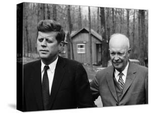 President John F. Kennedy Meeting with Former President Dwight Eisenhower at Camp David by Ed Clark