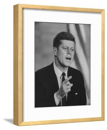 Presidential Candidate John F. Kennedy Speaking During a Debate