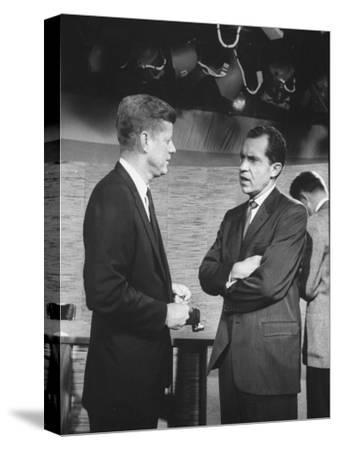 Presidential Candidate John F. Kennedy Speaking to Fellow Candidate Richard M. Nixon