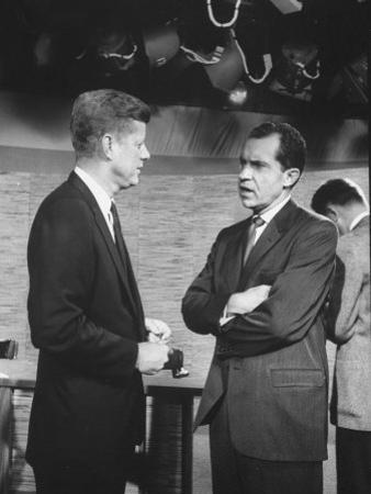 Presidential Candidate John F. Kennedy Speaking to Fellow Candidate Richard M. Nixon