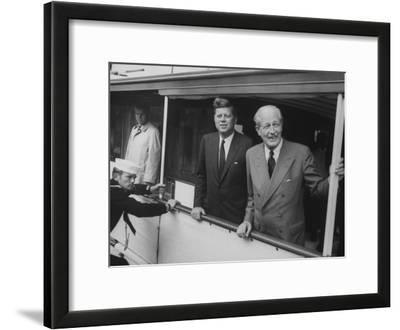 Presidential Yacht Cruising on Potomac River with Pres. John F. Kennedy and Harold Macmillan Aboard