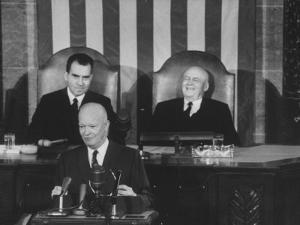 Richard M. Nixon, Sam Rayburn and Pres. Dwight D. Eisenhower During the Opening of Congress by Ed Clark
