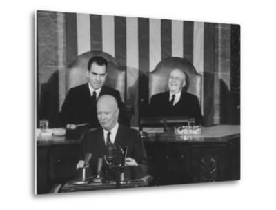 Richard M. Nixon, Sam Rayburn and Pres. Dwight D. Eisenhower During the Opening of Congress