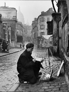 Young Artist Paints Sacre Coeur from the Ancient Rue Narvins by Ed Clark