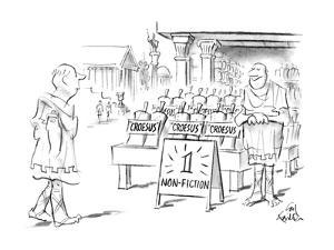 "Ancient Greek street with store and sign ""1 Non-Fiction"" and many copies o? - New Yorker Cartoon by Ed Fisher"