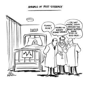 """Annals of Post-Literacy"". - New Yorker Cartoon by Ed Fisher"