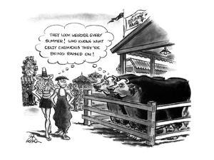 At a county fair, two people oddly dressed walk past a cow pen. Both cows ? - New Yorker Cartoon by Ed Fisher