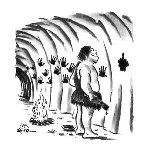 Caveman experimenting with hand-painting on cave walls; last print made is? - New Yorker Cartoon by Ed Fisher
