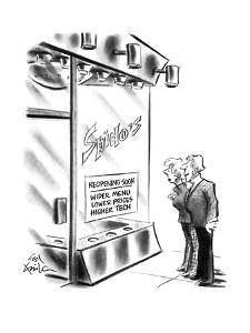 "Couple outside restaurant ""Spido's"" with sign in the window ""Reopening soo? - New Yorker Cartoon by Ed Fisher"