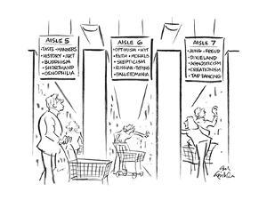Drawing of three aisles of a bookstore that looks like a supermarket - the? - New Yorker Cartoon by Ed Fisher