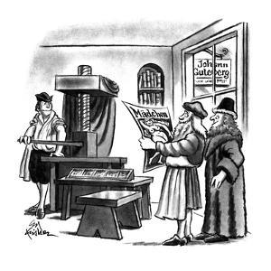 Gutenberg and two other men in medieval times with printing press, publish? - New Yorker Cartoon by Ed Fisher