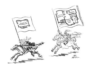 Man with woman is running away from knight, each has a floor plan of a cit? - New Yorker Cartoon by Ed Fisher