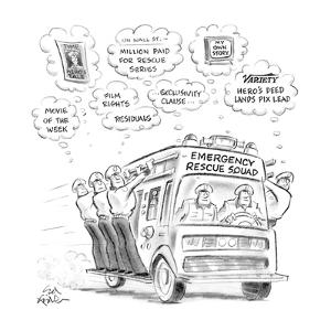 Men on emergency rescue squad all fantasising about money and fame for the? - New Yorker Cartoon by Ed Fisher
