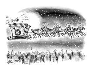 Reindeer wearing suits of armor pull Santa's sleigh, which looks like an a? - New Yorker Cartoon by Ed Fisher