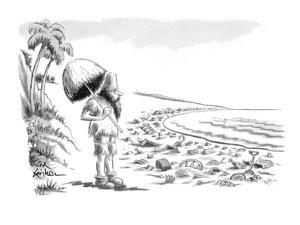 Robinson Crusoe comes upon beach littered with washed-up garbage. - New Yorker Cartoon by Ed Fisher