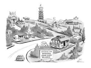 """Sign """"Entering The National Junk Food Reserve"""" with lots of fast food plac? - New Yorker Cartoon by Ed Fisher"""