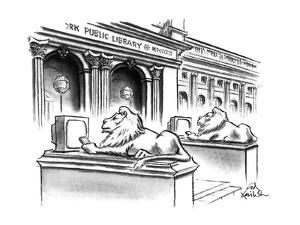 The two lion statues on the steps of the New York Public Library are holdi? - New Yorker Cartoon by Ed Fisher