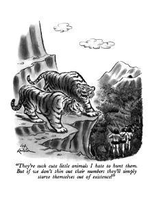 """They're such cute little animals I hate to hunt them.  But if we don't th?"" - New Yorker Cartoon by Ed Fisher"
