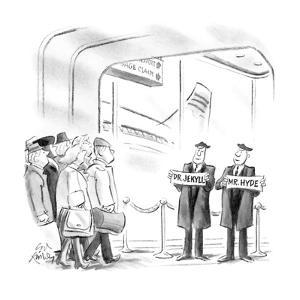 "Two men waiting at an airport with signs ""Mr. Jekyll"" and ""Mr. Hyde"". - New Yorker Cartoon by Ed Fisher"