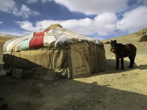 A Yurt with a Colorful Roof in Bayan Olgiy, Mongolia by Ed George