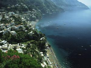 An Aerial View of Hillside Villages on the Water at Positano by Ed George