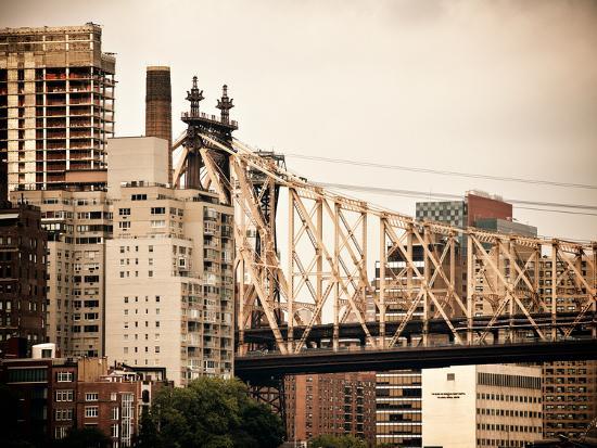 Ed Koch Queensboro Bridge, Roosevelt Island Tram Station, Manhattan, New York, Vintage-Philippe Hugonnard-Photographic Print