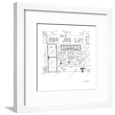 """Ed's Odd Job Lot"" with specials, for ""End-Of-The-Decade Clearance last 2 ? - New Yorker Cartoon-Roz Chast-Framed Premium Giclee Print"