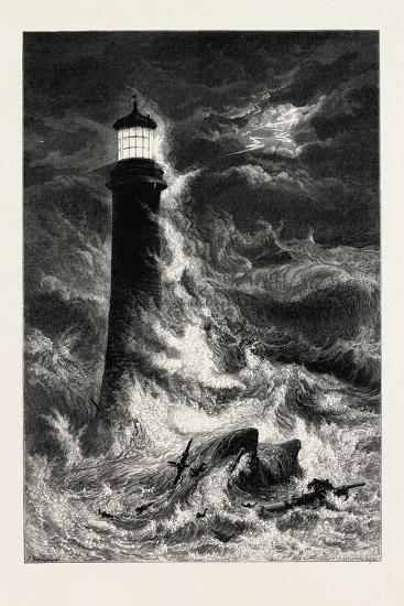 Eddystone Lighthouse, the South Coast, UK, 19th Century--Giclee Print