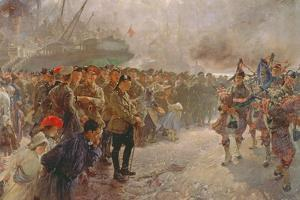 Landing of the First Canadian Division at St. Nazaire, 1915 by Edgar Bundy