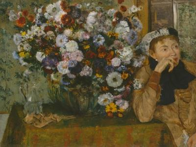 A Woman Seated beside a Vase of Flowers, 1865 by Edgar Degas