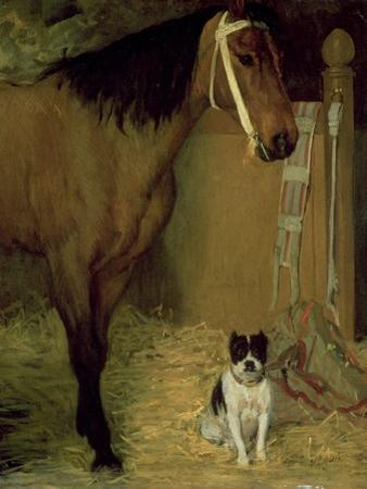 At the Stable, Horse and Dog, C.1862 by Edgar Degas