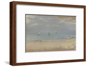 Au bord de la mer, sur une plage, trois voiliers au loin by Edgar Degas