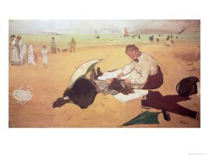 Beach Scene: Little Girl Having Her Hair Combed by Her Nanny, circa 1876-77 by Edgar Degas