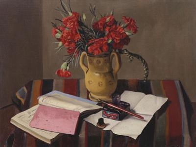 Carnations and Account Books by Edgar Degas