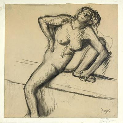 Crouching Nude; Nu Accroupi, 1890s by Edgar Degas