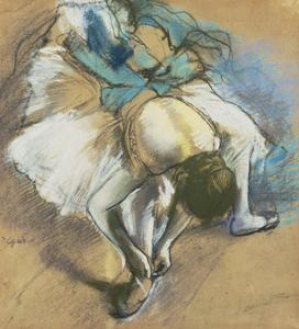 Dancer Adjusting Her Shoes, about 1880/85 by Edgar Degas