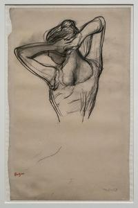 Dancer, half-body, arms crossed behind her head. Around 1880. Pencil on paper. by Edgar Degas