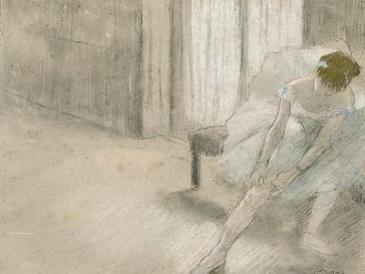 Dancer Seated, Readjusting Her Stocking, Danseuse Tirant Son Maillot (La Precaution), C. 1882-1885 by Edgar Degas