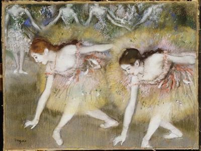 Dancers Bending Down by Edgar Degas